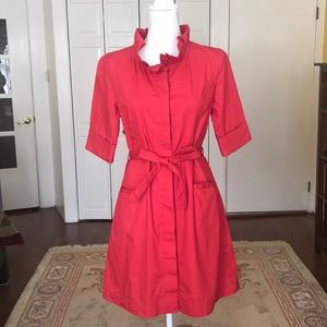 Anthropologie button down red dress